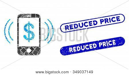 Mosaic Payment Phone Ring And Grunge Stamp Seals With Reduced Price Phrase. Mosaic Vector Payment Ph