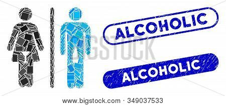 Mosaic Wc Alcoholic Persons And Rubber Stamp Seals With Alcoholic Text. Mosaic Vector Wc Alcoholic P