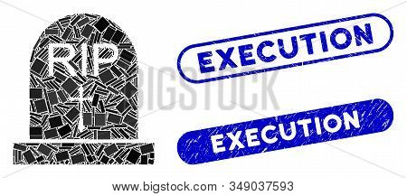 Mosaic Rip And Distressed Stamp Seals With Execution Caption. Mosaic Vector Rip Is Designed With Ran