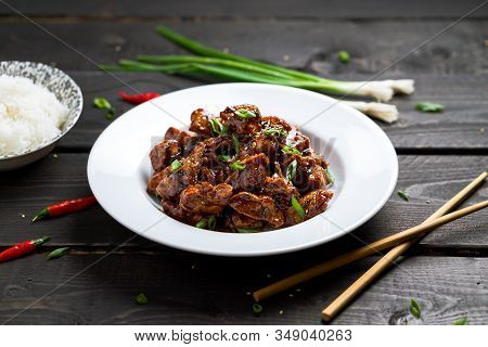 Delicious General Tso's Chicken Dish Angled View.