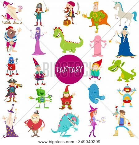 Cartoon Illustrations Of Funny Fantasy Characters Large Set