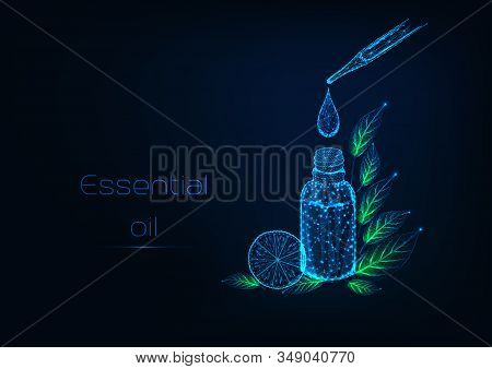 Futuristic Essential Oils Therapy Concept With Pipette, Bottle, Oil Drop, Herbal Leaves, Lemon