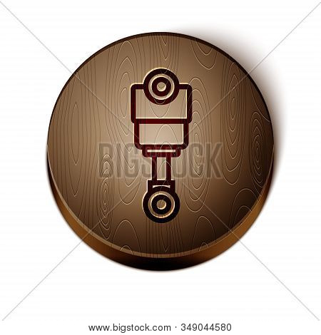 Brown Line Engine Piston Icon Isolated On White Background. Car Engine Piston Sign. Wooden Circle Bu