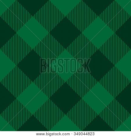 Lumberjack Plaid Pattern In Green Colors. Saint Patricks Day Theme. Seamless Vector Pattern. Simple