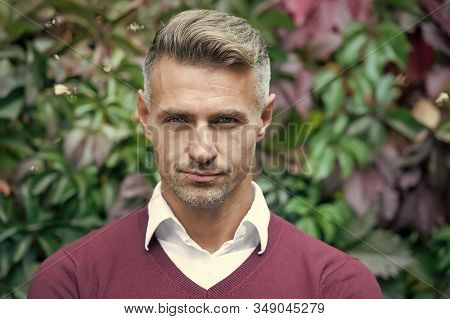 Facial Care And Ageing. Attractive Mature Man. Mature Guy With Grey Hair And Bristle. Men Get More A