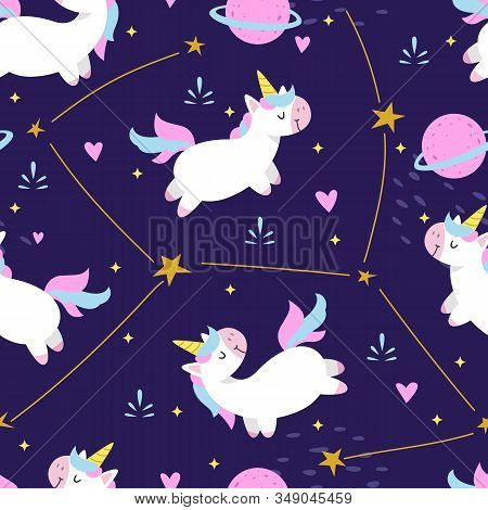 Vector Seamless Pattern Cute Unicorn, Adorable Little Unicorn Seamless Pattern. Vector Cute Unicorns