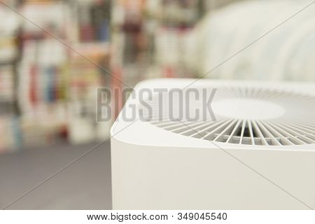 Closeup Dof Of Indoor Air Purifier In Bedroom, Air Pollution Pm 2.5, Air Quality, Respiratory Health