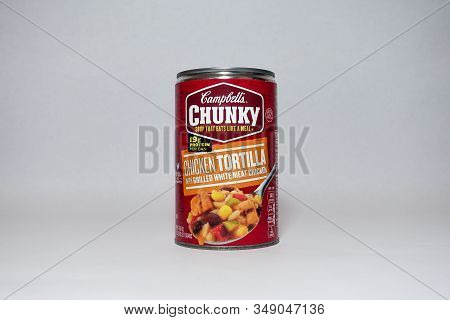 Orlando, Fl/usa-2/3/20: A Can Of Campbells Chunky Chicken Tortilla Soup On A White Background.