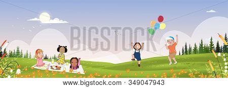Cute Cartoon Group Of Kids Having Picnic In The Park In Sunny Day Spring,children Sitting On Blanket
