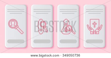 Set Line Magnifying Glass For Search, Magnifying Glass With Footsteps, Money Bag And Magnifying Glas