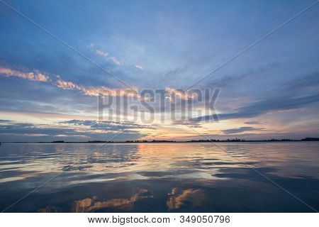 Colorful Summer Sunset With The Blue Waters Of The Palic Lake, In Subotica, Serbia, With The Sunny S