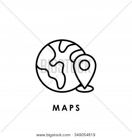 Maps. Maps icon. Maps Location vector. Maps icon vector. Maps logo. Maps symbol. Maps web icon. Location icon. Maps icon isolated flat on white background. Maps icon simple sign for logo, web, app, UI. Trendy Maps icon flat vector illustration.