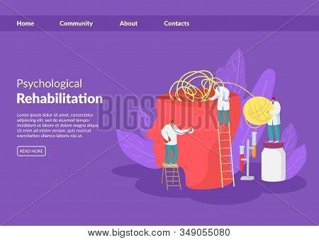 Psychological Help, Treatment, Rehabilitation Vector Illustration Website Banner. Doctors Psychother