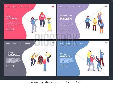 Social Problem, Bullying Vector Illustration Websites. Aggressors And Victims Of Bullying Internet P