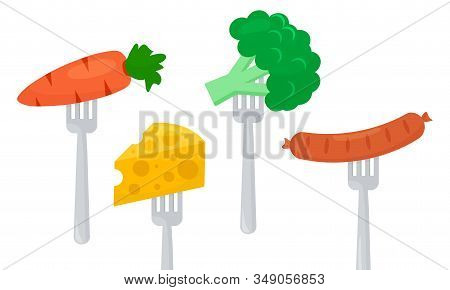 Healthy And Unhealthy Food, Diet, Vegetables Carrots, Broccoli And Cheese, Sausage On Forks. Vector