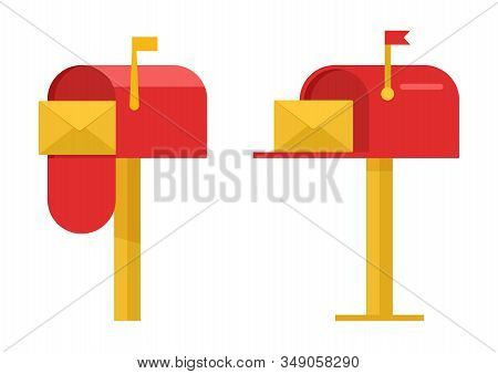Red Mailboxes With Yellow Envelope Isolated On White Background. Vector Illustration