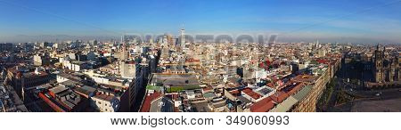 Historic Center Of Mexico City With Cbd Skyline On Avenue Paseo De La Reforma Aerial View At Zocalo,
