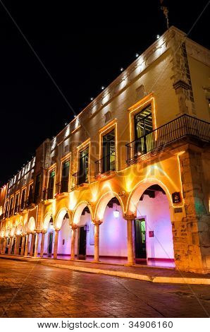 Night Shot Of A Building In Valladolid, Mexico