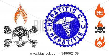 Biohazard Collage Death Ignition Icon And Round Corroded Stamp Seal With Hepatitis C Text And Medici