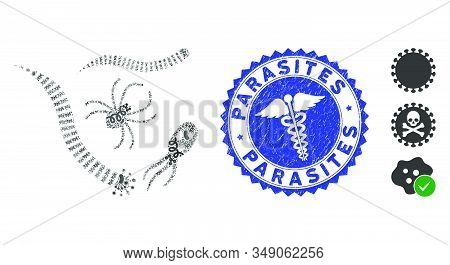 Infection Mosaic Parasites Icon And Rounded Rubber Stamp Watermark With Parasites Text And Caduceus