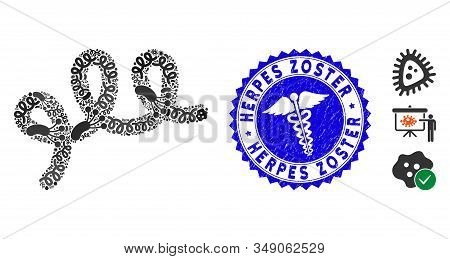 Microbe Collage Spiral Bacillus Icon And Rounded Distressed Stamp Seal With Herpes Zoster Caption An