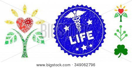 Contagious Mosaic Life Icon And Round Rubber Stamp Seal With Life Caption And Medical Icon. Mosaic V