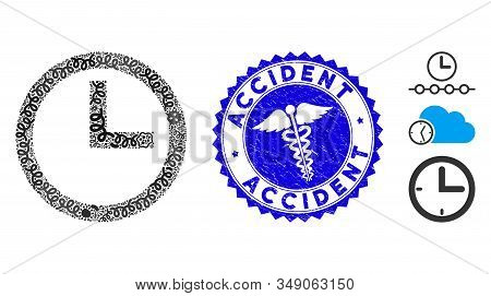 Outbreak Collage Clock Icon And Rounded Grunge Stamp Seal With Accident Phrase And Serpents Icon. Mo