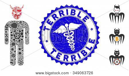Epidemic Mosaic Daemon Icon And Rounded Distressed Stamp Seal With Terrible Phrase And Doctor Icon.