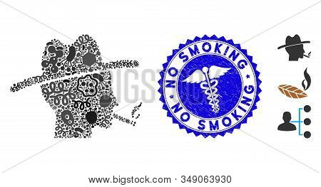 Viral Mosaic Cigarette Smoker Icon And Round Corroded Stamp Watermark With No Smoking Caption And Cl