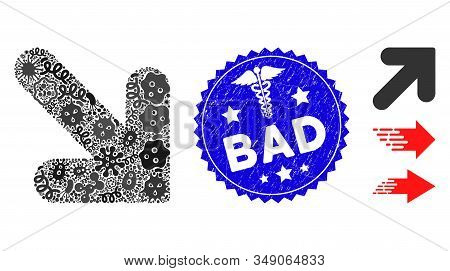 Viral Mosaic Arrow Down Right Icon And Rounded Corroded Stamp Seal With Bad Caption And Health Care