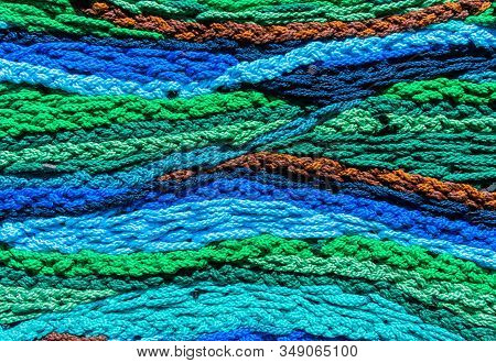 Woven Mix Color Wool Yarns To Make A Wonder Colored Texture.
