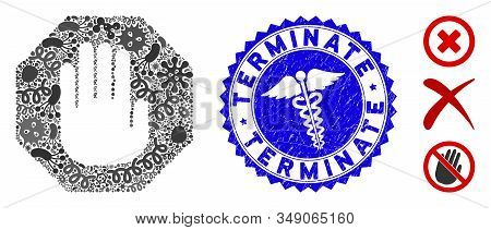 Microbe Mosaic Terminate Icon And Round Rubber Stamp Watermark With Terminate Phrase And Medic Icon.