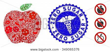 Contagious Mosaic Apple Icon And Rounded Distressed Stamp Seal With Zero Sugar Text And Healthcare S