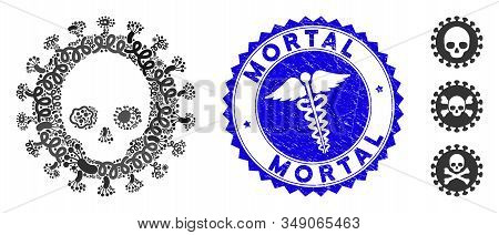 Pathogen Mosaic Mortal Virus Icon And Rounded Distressed Stamp Seal With Mortal Phrase And Healthcar