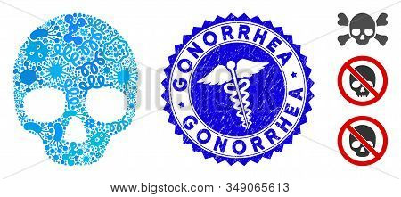 Pathogen Mosaic Skull Icon And Rounded Rubber Stamp Seal With Gonorrhea Phrase And Healthcare Icon.