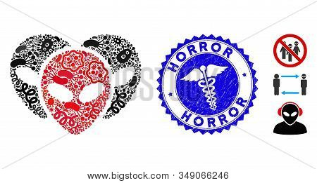 Infection Mosaic Alien Visitor Heads Icon And Rounded Rubber Stamp Watermark With Horror Phrase And