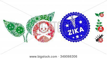 Pandemic Mosaic Herbicide Icon And Rounded Corroded Stamp Seal With Zika Text And Medical Icon. Mosa
