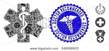 Contagious Mosaic Medical Emblem Icon And Rounded Grunge Stamp Seal With Doctor Recommended Text And