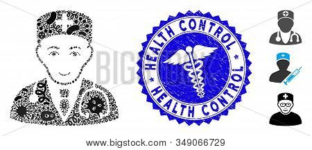 Epidemic Collage Physician Icon And Rounded Grunge Stamp Seal With Health Control Text And Healthcar