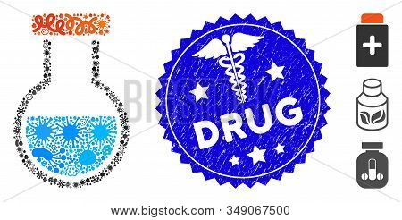 Flu Mosaic Phial Icon And Round Rubber Stamp Watermark With Drug Text And Medical Icon. Mosaic Vecto