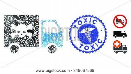 Infectious Mosaic Toxic Transportation Car Icon And Round Corroded Stamp Watermark With Toxic Phrase