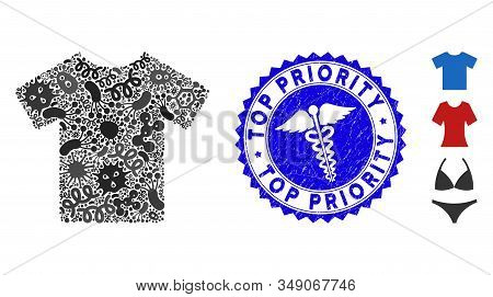 Contagious Mosaic T-shirt Icon And Round Rubber Stamp Seal With Top Priority Caption And Health Care