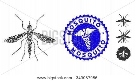 Biohazard Mosaic Mosquito Icon And Rounded Rubber Stamp Seal With Mosquito Phrase And Doctor Icon. M