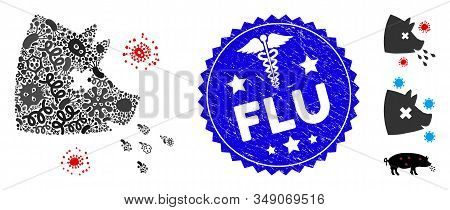Microbe Mosaic Swine Flu Icon And Rounded Corroded Stamp Seal With Flu Phrase And Medicine Sign. Mos