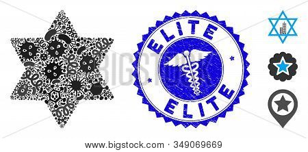 Epidemic Mosaic Six Pointed Star Icon And Round Distressed Stamp Watermark With Elite Text And Medic