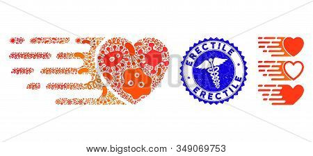Pathogen Collage Express Love Heart Icon And Rounded Corroded Stamp Seal With Erectile Text And Serp