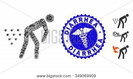 Flu Mosaic Man Diarrhea Icon And Rounded Grunge Stamp Seal With Diarrhea Caption And Healthcare Icon