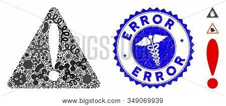 Contagious Mosaic Warning Error Icon And Rounded Corroded Stamp Seal With Error Phrase And Caduceus