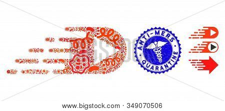 Contagion Mosaic Express Right Direction Icon And Round Corroded Stamp Seal With Anti-mers Quarantin