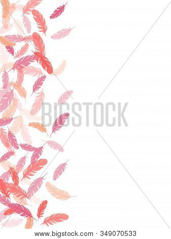 Bohemian Pink Flamingo Feathers Vector Background. Easy Plumelet Ethnic Indian Graphics. Angel Wing